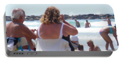 Beach Watchers Portable Battery Charger by Esther Newman-Cohen