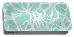 Portable Battery Charger featuring the mixed media Beachglass And White Flowers 2- Art By Linda Woods by Linda Woods