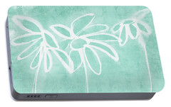 Portable Battery Charger featuring the mixed media Beachglass And White Flowers 3- Art By Linda Woods by Linda Woods