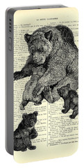 Bear And Cubs Black And White Antique Illustration Portable Battery Charger