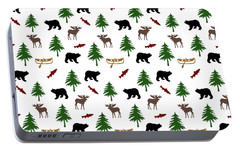 Portable Battery Charger featuring the mixed media Bear Moose Pattern by Christina Rollo