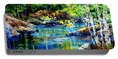 Portable Battery Charger featuring the painting Bear Paw Stream by Hanne Lore Koehler