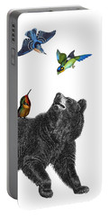 Bear With Birds Antique Illustration Portable Battery Charger