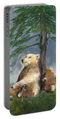 Portable Battery Charger featuring the painting Bears And Tree by Karen Ferrand Carroll