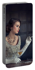 Beautiful 1930s Woman With Cocktail And Cigarette Portable Battery Charger