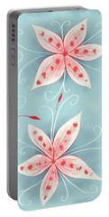 Beautiful Abstract White Red Flowers Portable Battery Charger