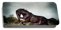 Beautiful Black Stallion Horse Running On The Stormy Sky Portable Battery Charger