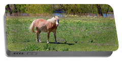 Beautiful Blond Horse And Four Little Birdies Portable Battery Charger by James BO Insogna