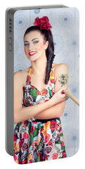Beautiful Day Of The Dead Girl Drawing Tattoo Portable Battery Charger