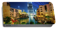 Beautiful Downtown Area In Dubai At Night, Dubai, United Arab Emirates Portable Battery Charger