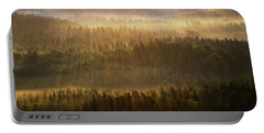 Beautiful Foggy Forest During Autumn Sunrise, Saxon Switzerland, Germany Portable Battery Charger