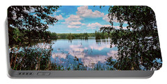 beautiful forest lake in Sunny summer day Portable Battery Charger
