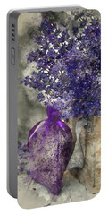 Beautiful Fragrant Lavender Bunch In Rustic Home Styled Setting  Portable Battery Charger