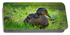 Portable Battery Charger featuring the photograph Beautiful Mama Duck by Linda Unger