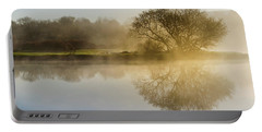 Portable Battery Charger featuring the photograph Beautiful Misty River Sunrise by Christina Rollo