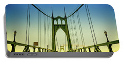 Beautiful Portland Saint Johns Bridge At Sunset Portable Battery Charger