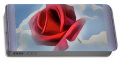 Beautiful Red Rose Cuddled By Cumulus Portable Battery Charger
