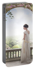 Beautiful Regency Woman Beneath A Wisteria Arch Portable Battery Charger