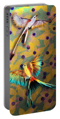 Portable Battery Charger featuring the digital art Beautiful Scissor-tailed Flycatchers by Iowan Stone-Flowers