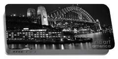 Beautiful Sydney Harbour In Black And White Portable Battery Charger