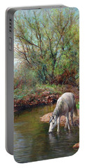 Beautiful White Horse And Enchanting Spring Portable Battery Charger
