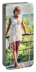 Beautiful Woman In The Beach House Portable Battery Charger