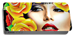 Beautiful Woman Yellow Roses Pop Art Portable Battery Charger