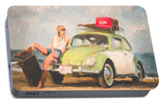 Portable Battery Charger featuring the digital art Beauty And The Beetle - Road Trip No.1 by Serge Averbukh