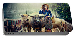 Beauty And The Water Buffalo Portable Battery Charger by Ian Gledhill