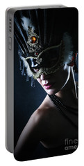 Portable Battery Charger featuring the photograph Beauty Model Wearing Venetian Masquerade Carnival Mask by Dimitar Hristov