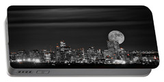 Beaver Moonrise In B And W Portable Battery Charger by Kristal Kraft