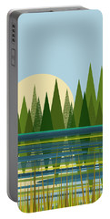 Beaver Pond - Vertical Portable Battery Charger by Val Arie