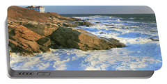 Beavertail Point And Lighthouse  Portable Battery Charger by Roupen  Baker