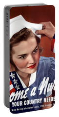 Become A Nurse -- Ww2 Poster Portable Battery Charger by War Is Hell Store