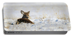 Bedded Fawn In Snowy Field Portable Battery Charger