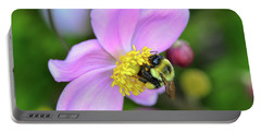Portable Battery Charger featuring the photograph Bee And Japanese Anemone by Kerri Farley