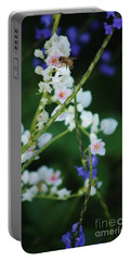 Bee And Wild Flowers Portable Battery Charger by Craig Wood