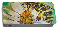 Bee Collecting Nectar And Pollen Portable Battery Charger
