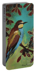Portable Battery Charger featuring the painting Bee Eater by Robin Maria Pedrero