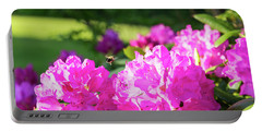 Bee Flying Over Catawba Rhododendron Portable Battery Charger