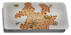 Portable Battery Charger featuring the painting Bee Hive # 1 by Katherine Young-Beck