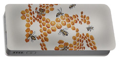 Portable Battery Charger featuring the painting Bee Hive # 2 by Katherine Young-Beck