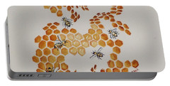 Portable Battery Charger featuring the painting Bee Hive # 5 by Katherine Young-Beck