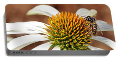 Portable Battery Charger featuring the photograph Bee In The Echinacea  by AJ Schibig