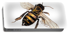 Portable Battery Charger featuring the painting Bee by Monique Faella