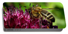 Bee On A Dark Pink Flower Portable Battery Charger