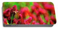 Portable Battery Charger featuring the photograph Bee On Clover Cr by Jerry Sodorff