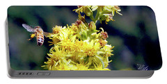Bee On Goldenrod Portable Battery Charger by Meta Gatschenberger