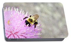 Portable Battery Charger featuring the photograph Bee On Pink Bull Thistle by Meta Gatschenberger
