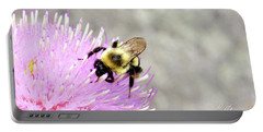 Bee On Pink Bull Thistle Portable Battery Charger by Meta Gatschenberger